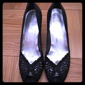Stuart Weitzman Black Peep Toe Heels